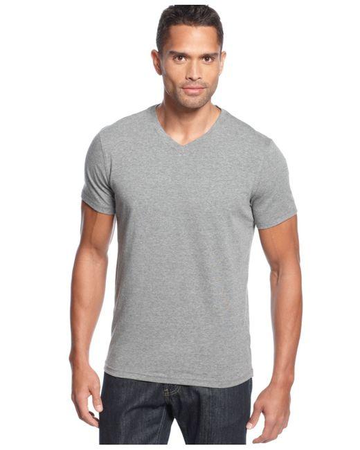 Alfani big and tall stretch v neck t shirt in gray for men for Mens tall v neck t shirts