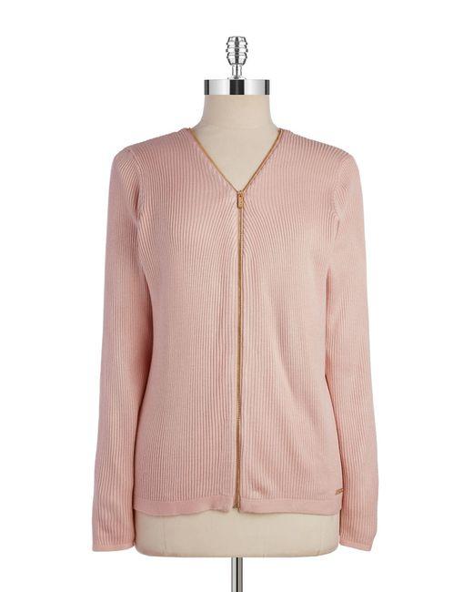 Calvin Klein | Pink Zip-up Ribbed Knit Cardigan | Lyst