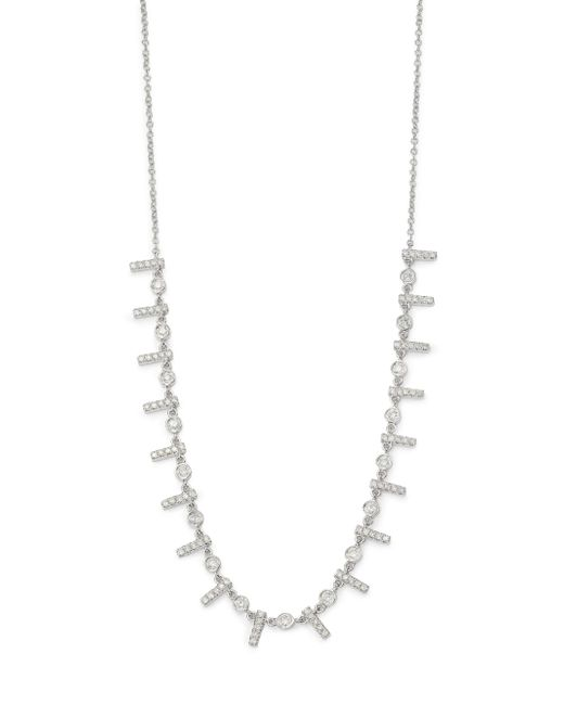 Meira T | Metallic Diamond & 14k White Gold Bar Necklace | Lyst