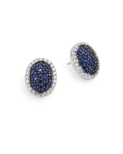 Effy | Blue Diamond, Sapphire & 14k White Gold Stud Earrings | Lyst