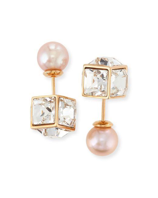 Vita Fede | Metallic Double Cubo Gemma Pearl Earrings | Lyst