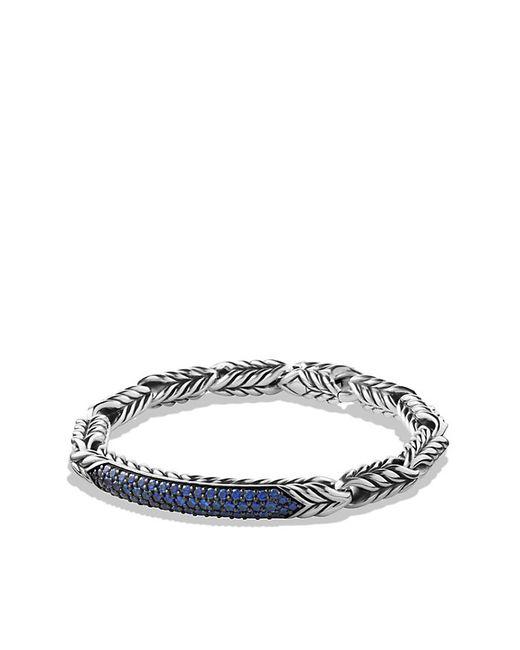 David Yurman | Chevron Id Bracelet With Blue Sapphire for Men | Lyst