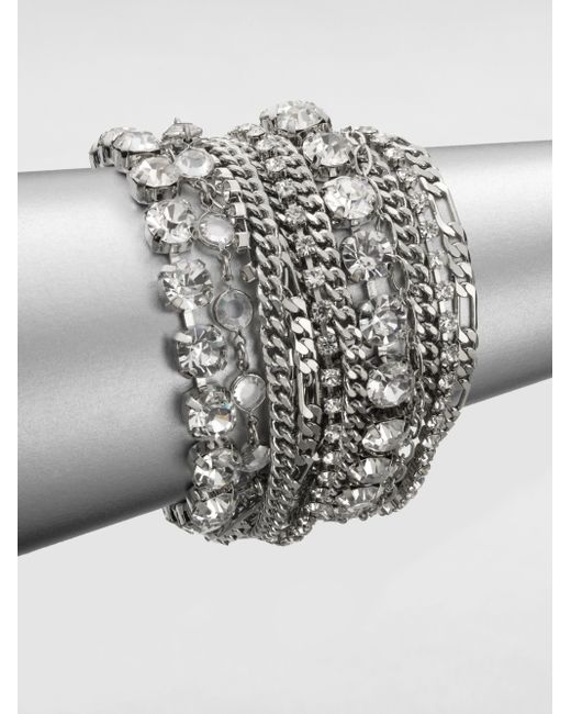 ABS By Allen Schwartz | Metallic Multi-row Link Chain Bracelet | Lyst
