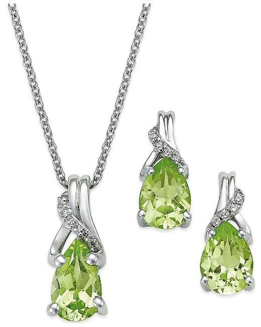 Macy's | Green Peridot (2-1/5 Ct. T.w.) And Diamond Jewelry Set In Sterling Silver | Lyst