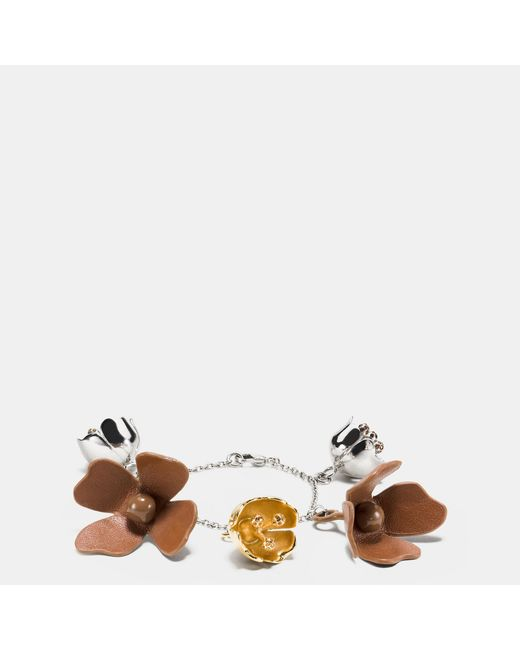 Coach Saddle Leather Tea Rose Bracelet In Silver Silver