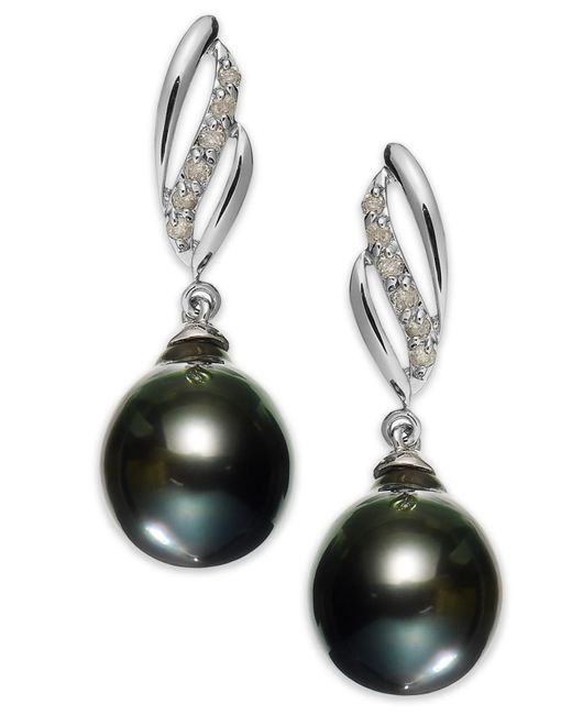 macy s pearl earrings macy s 14k white gold tahitian pearl 9mm and 1 3023