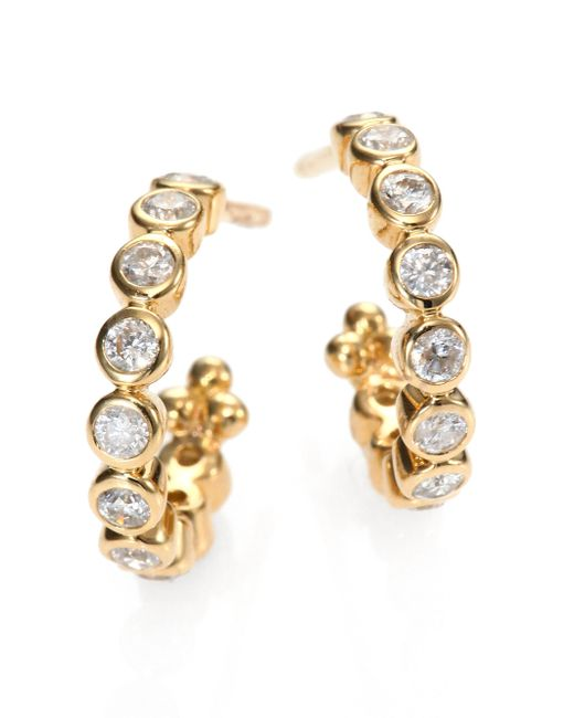 Temple St. Clair | Metallic Classic Eternity Diamond & 18k Yellow Gold Hoop Earrings/0.4 | Lyst