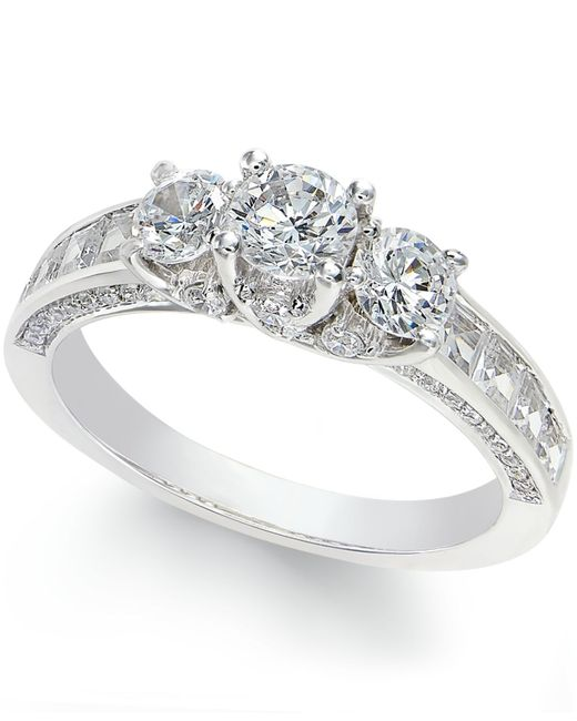 Macy S Diamond 3 Stone Ring 2 C T T W In 14k White