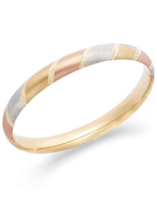 Macy's | Metallic Tri-tone Diamond-cut Bangle Bracelet In 14k Gold | Lyst