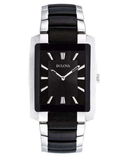 Bulova Mens Stainless Steel And Black Bracelet Watch In