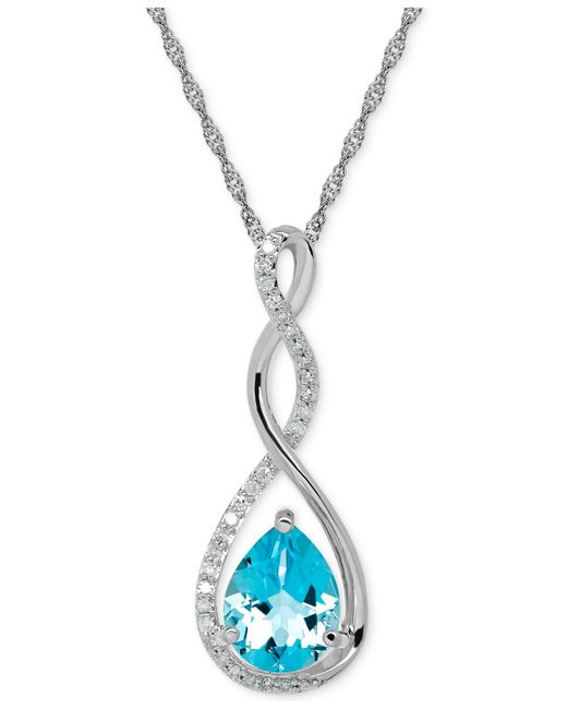 Macy's   Metallic Birthstone And Diamond (1/10 Ct. T.w.) Pendant Necklace In 14k White Or Yellow Gold   Lyst