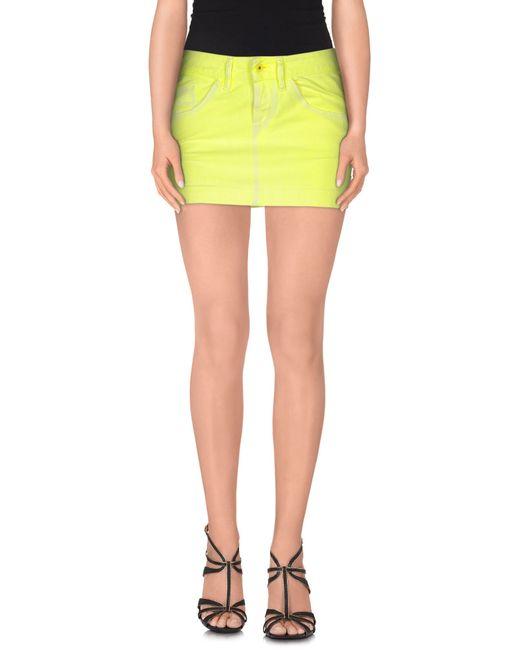 diesel denim skirt in yellow save 15 lyst