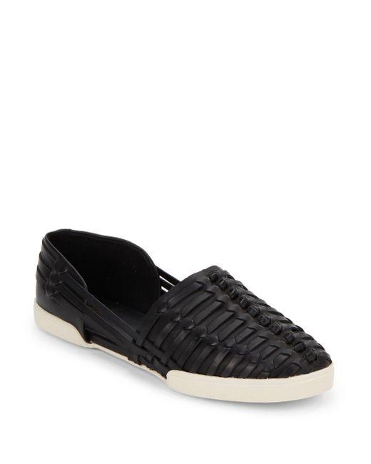 Elliott Lucca | Black Woven Leather Flats | Lyst