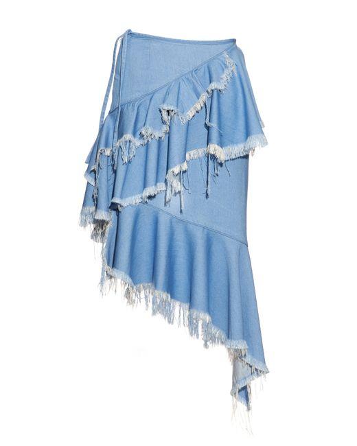 marques almeida asymmetric hem frayed denim skirt in blue