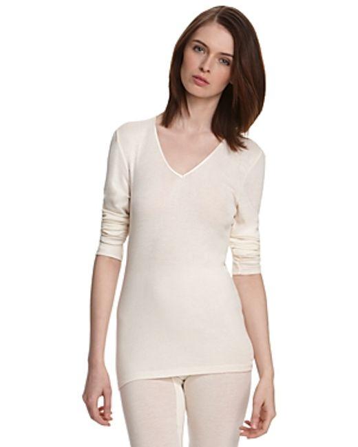 Hanro | Natural Woolen Silk Basic Long Sleeve Shirt | Lyst