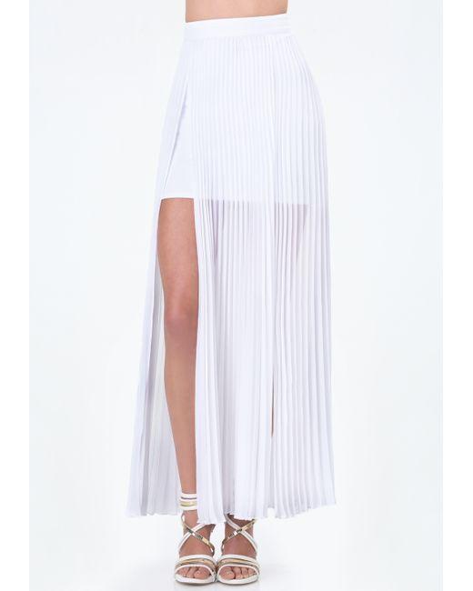 bebe pleated slit maxi skirt in white bright white lyst