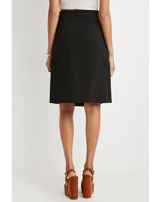Forever 21 | Black Inverted Front-pleat A-line Skirt | Lyst