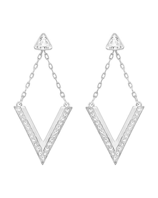 Swarovski | Metallic Delta Pierced Earrings | Lyst