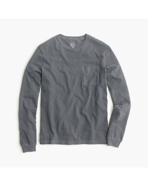 J.Crew | Gray Tall Long-sleeve Garment-dyed T-shirt for Men | Lyst