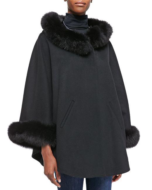 Sofia Cashmere | Gray Cashmere & Fox Fur Cape | Lyst