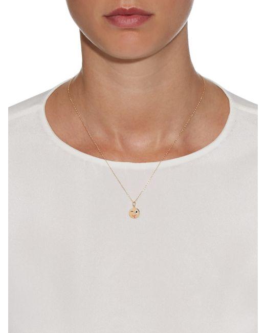 Alison Lou   Enamel & Yellow-gold Crazy Face Necklace   Lyst