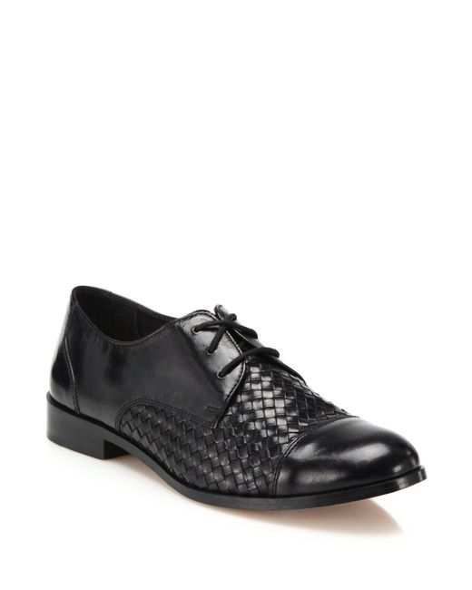 Cole Haan | Black Jagger Woven Leather Oxfords | Lyst