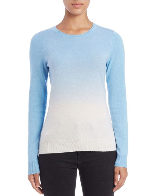 Lord & Taylor | Blue Petite Dip-dyed Cashmere Crewneck | Lyst