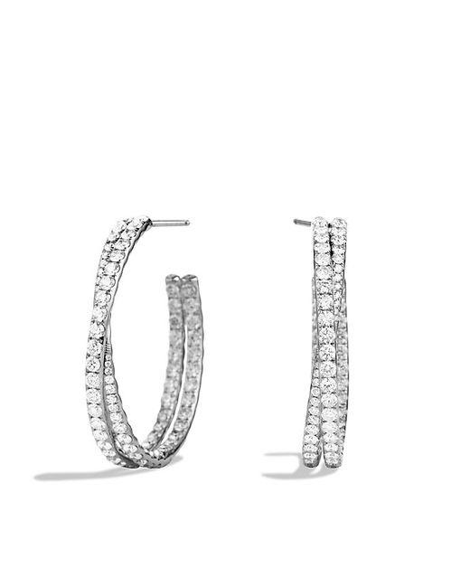 David Yurman | Crossover Hoop Earrings With Diamonds In White Gold | Lyst