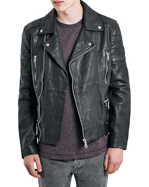 Topman leather biker jacket