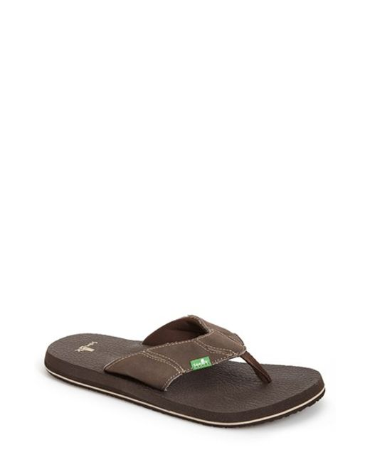 Sanuk | Brown 'fault Line' Flip Flop for Men | Lyst