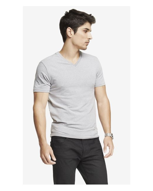 Express | Gray Flex Stretch Cotton V-neck Tee for Men | Lyst