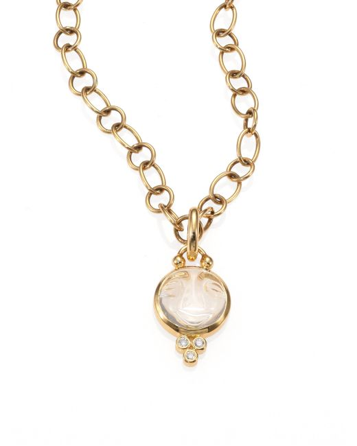 Temple St. Clair | Metallic Celestial Rock Crystal, Diamond & 18k Yellow Gold Small Moonface Pendant | Lyst