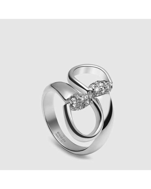 gucci white gold horsebit ring in silver 18k white gold