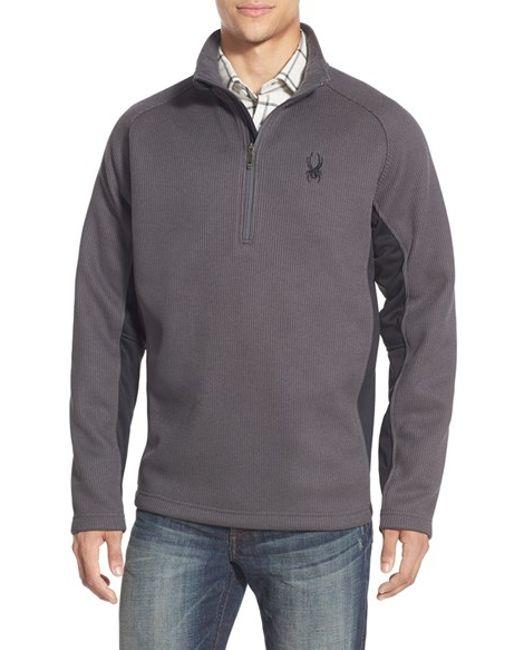 Spyder | Gray 'outbound' Quarter Zip Knit Pullover for Men | Lyst