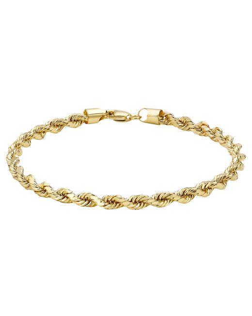 Ib&b | Metallic 9ct Yellow Gold Hollow Diamond-cut Rope Bracelet | Lyst