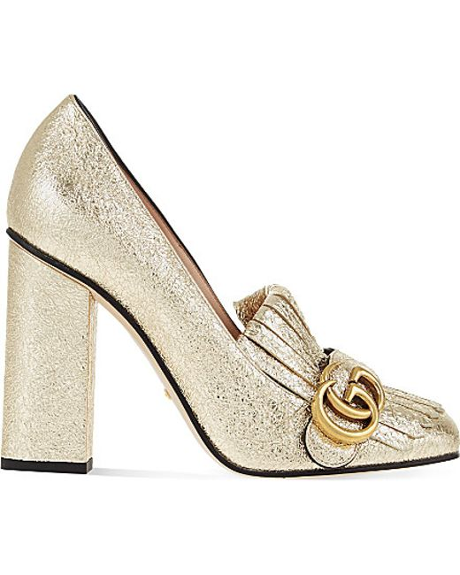 Gucci Marmont Metallic Pumps In Gold Lyst