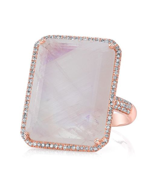 Anne Sisteron | Pink 14kt Rose Gold Moonstone Diamond Rectangle Cocktail Ring | Lyst