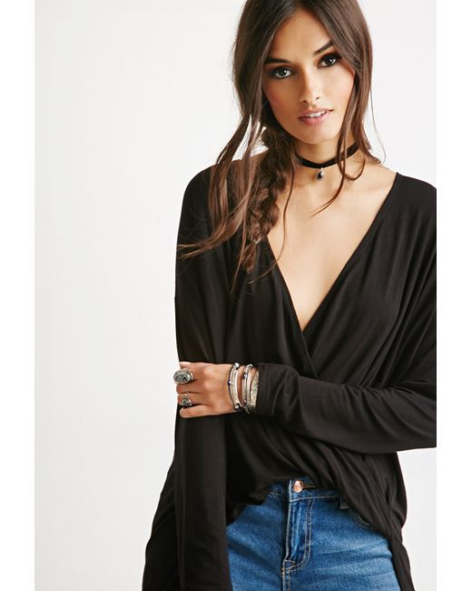 Forever 21 | Black Twist-front Lace-paneled Tunic | Lyst