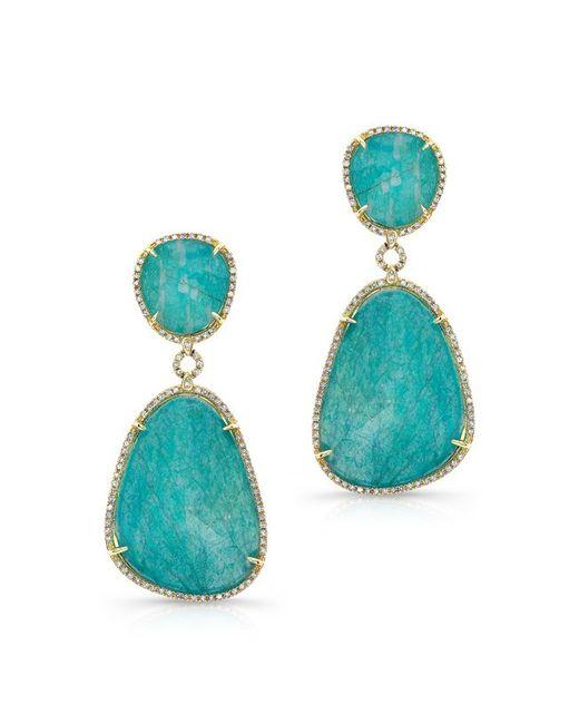 Anne Sisteron - Blue 14kt Yellow Gold Amazonite Diamond Earrings - Lyst