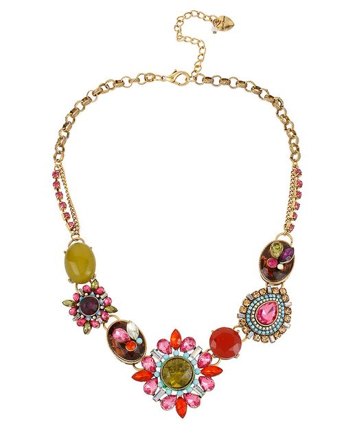 Betsey Johnson   Metallic Mixed Crystal And Gemstone Statement Necklace   Lyst