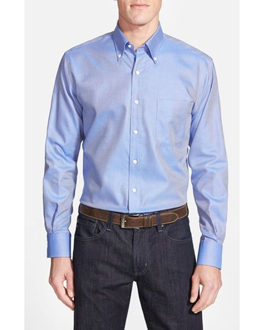Peter Millar | Blue 'nanoluxe' Regular Fit Wrinkle Free Sport Shirt for Men | Lyst