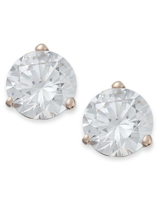 Arabella | Metallic Swarovski Zirconia Stud Earrings (7mm) | Lyst