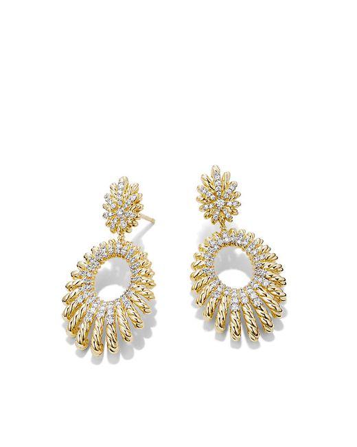 David Yurman | Metallic Tempo Double Drop Earrings With Diamonds In 18k Gold | Lyst