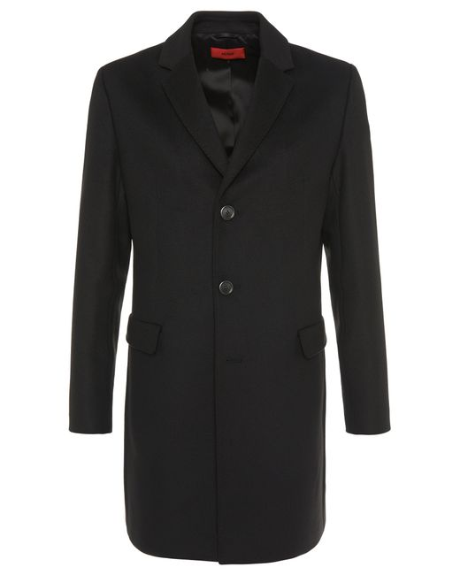 HUGO | Black Coat In New-wool Blend: 'migor2' for Men | Lyst