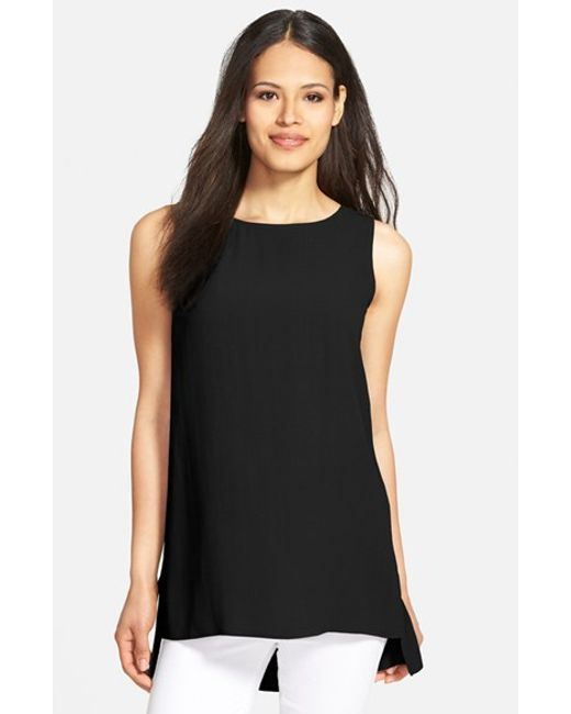 Eileen Fisher | Black Long Bateau Neck Silk Shell | Lyst
