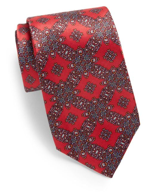 Burma Bibas | Red Grid Medallion-print Silk Tie for Men | Lyst