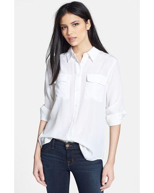 Equipment | White 'slim Signature' Silk Shirt | Lyst
