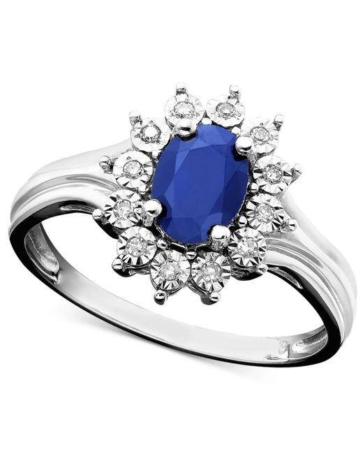 Macy's | Metallic Sapphire (9/10 Ct. T.w.) And Diamond Accent Ring In 10k White Gold | Lyst