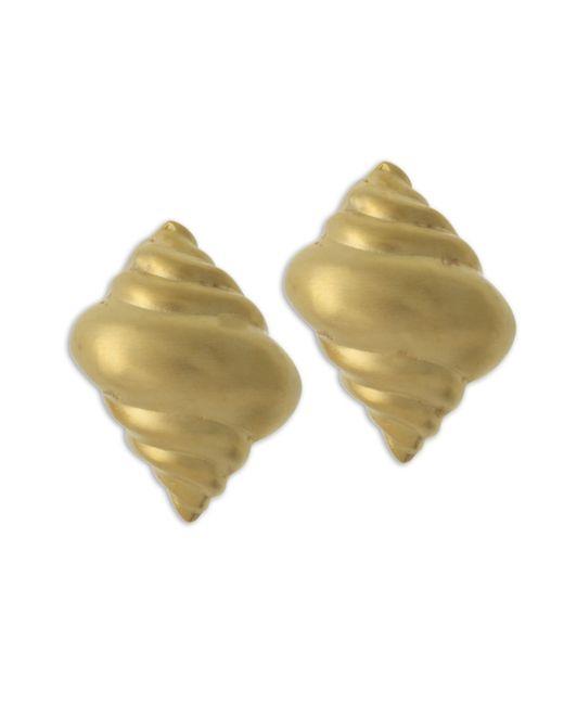 Kenneth Jay Lane | Metallic Satin Gold Seashell Clip Earring | Lyst
