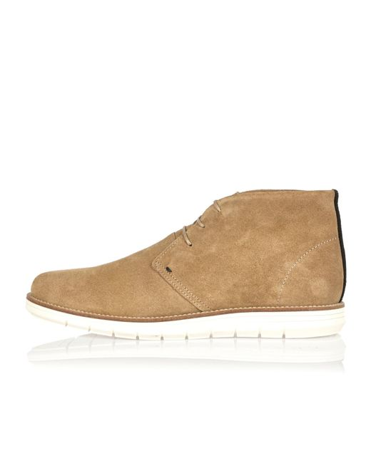 river island camel suede wedge chukka boots in multicolor